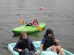 paddle boat and kayak at the lake.