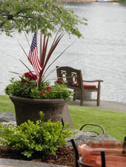 falg in planter at lake