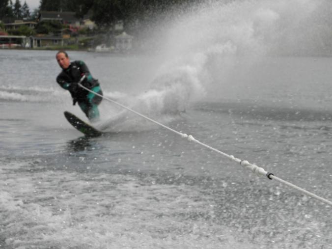 Jim skiing on Lake Tapps